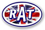 RAT Oval Funny Parody Design With Union Jack British Flag Vinyl Car sticker decal 120x77mm